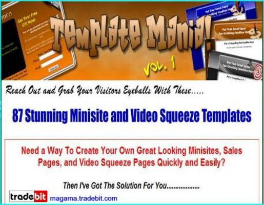 Product picture *Template Mania*87 Minisite and Video Squeeze Templates-MRR